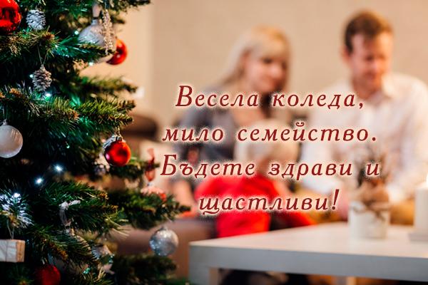 Коледна картичка с пожелания за семейство