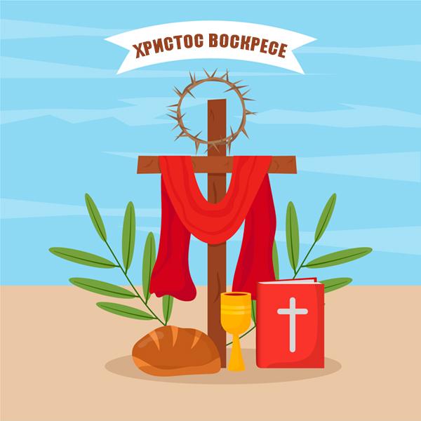 Картичка за Великден Христос Воскресе
